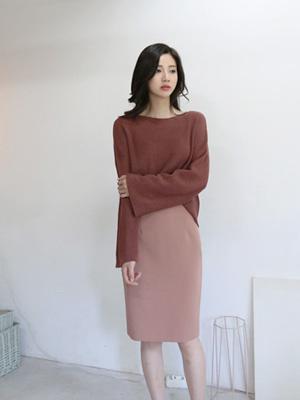 F / W High Midi裙子(20种面部颜色)