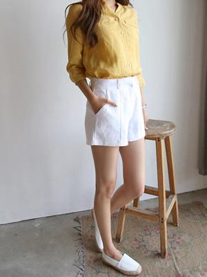 苏威亚麻短裤