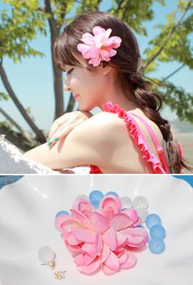 粉色花发夹