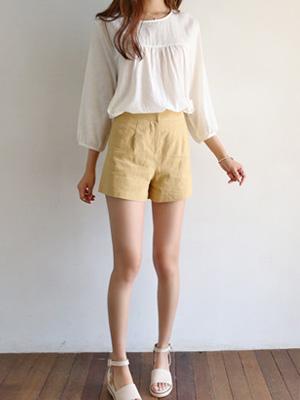 Moeol亚麻短裤