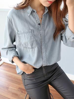 丹麦牛仔色衬衫