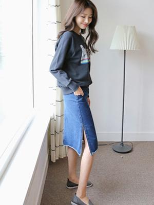 Raumu slit牛仔色裙子(30%OFF)