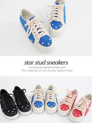 星钉胶底帆布鞋(3cm)(50%OFF)