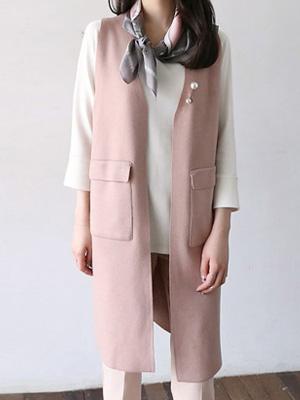 珍珠胸针针织衫马甲