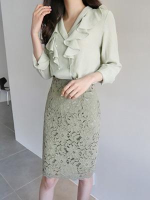 绿色荷叶边女士衬衫(30%折扣)