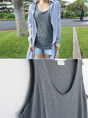 方便的无袖Ť恤衫(6颜色)
