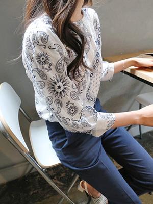 普利茅斯大泡泡袖女衬衫