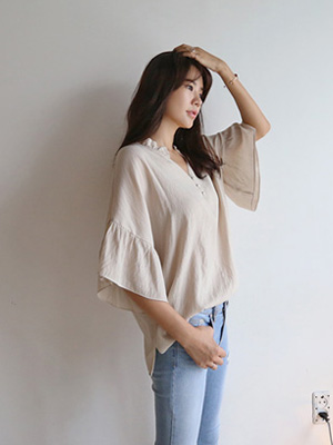 美洲褶皱女衬衫