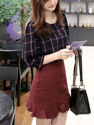 生物格子女衬衫★短袖(20%OFF)