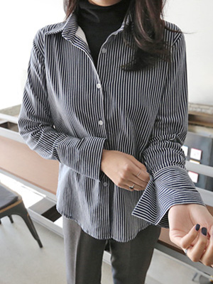 斯隆加绒条纹衬衫