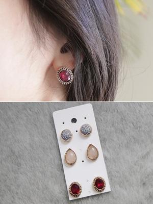 石珠宝耳环套装