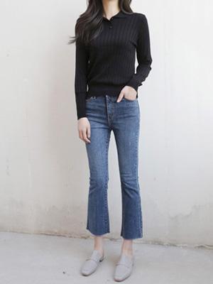 蓝色的靴型裤短裤(XS-L)