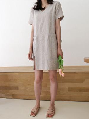杰罗亚麻连衣裙