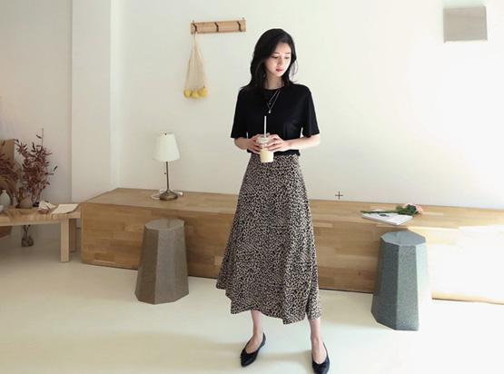 豹纹波浪组/喇叭裙裙子