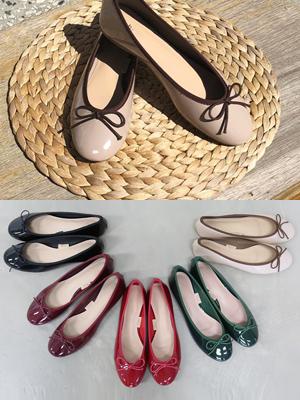 精益漆皮蝴蝶结平底平底鞋(1cm)