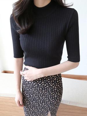 Rono贴纸半领织面衫(5面色)