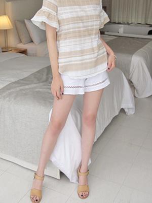 印花线条短裤