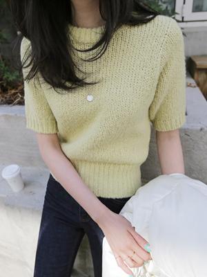 娜娜羊皮短袖织人衫