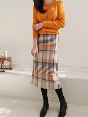 Achu格子羊毛围巾