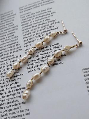 长款珍珠耳环(养殖珍珠)