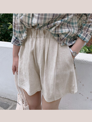 花生亚麻乐团短裤