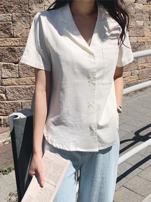Lameen亚麻袖袖短袖衬衫