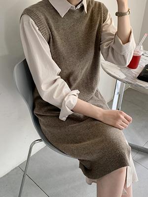 秘密长款针织衫马甲