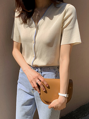 Hiyo配色短袖开衫